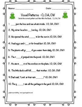 VOWEL PATTERNS O,OA,OW