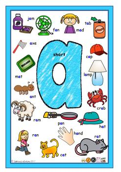 VOWEL POSTERS - 13 A4 Posters - Short and Long Vowels - includes vowel y