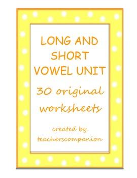 VOWELS: Long and Short Worksheets and File Folder Game