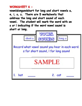 VOWELS: Long and Short Worksheets and File Folder Game