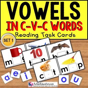 VOWELS in C-V-C Words Task Cards TASK BOX FILLER  Autism/ Special Education/ELL