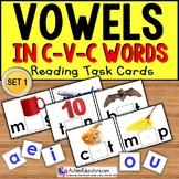 """VOWELS in C-V-C Words Task Cards """"TASK BOX FILLER"""" for  Autism Special Education"""
