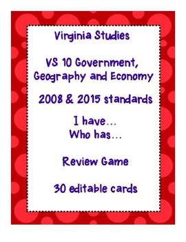 VS 10 I have... Who has...Government, Geography and Economy 2008 & 2015