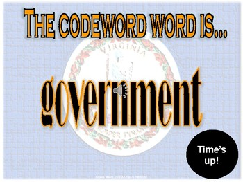VS.10 - Virginia Government & Economy Codeword Game (Similar to Password)