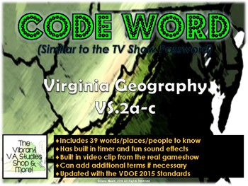 VS.2 - Virginia Geography Codeword Game (Similar to Password)