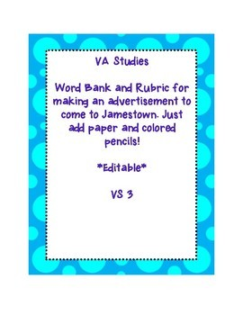 VS 3 Jamestown end of unit activity advertisement for Jamestown WITH RUBRIC!