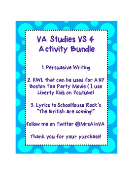 VS 3 Revolutionary War Unit Activity Bundle VA Studies 4th Grade