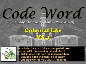 VS.4 - Colonial Life Codeword Game (Similar to Password)