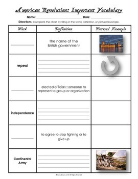 VS.5 - American Revolution Vocabulary Chart