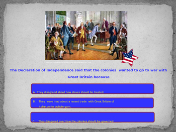 American Revolution Quiz  geared to VS.5 study Guide