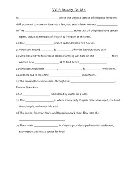 VS 6 & 10a Vocabulary, Study Guide, & Test