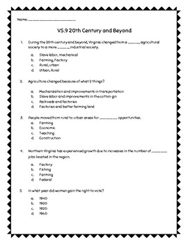 VS.9 20th Century and Beyond Question Set