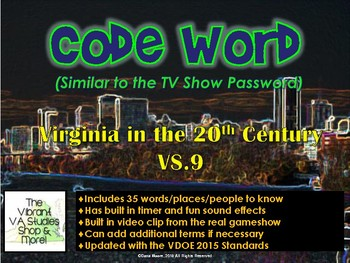 VS.9 - Virginia in the 20th Century Codeword Game (Similar to Password)