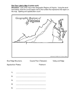 VS.2 a-c Virginia Geography Test