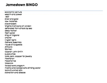 VS.3 Jamestown BINGO