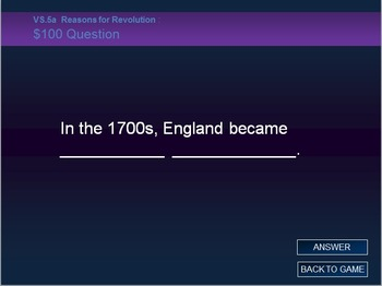 VS.5 American Revolution Jeopardy Review Game