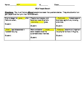 VS.8 Virginia Studies Reconstruction People Search Activity Worksheet and KEY