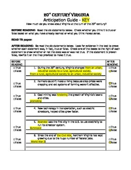VS.9a Virginia Studies Anticipation Guide Worksheet and KEY