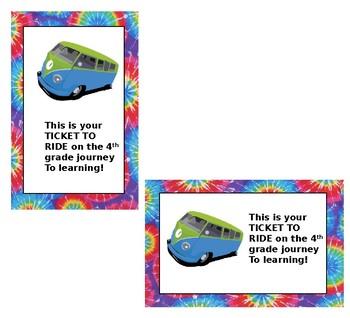 VW Bus Themed Postcard with Tie Dye Border (Editable) :