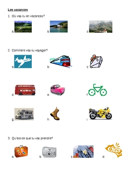 Vacances (Vacation in French) worksheet