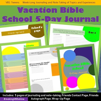 Vacation Bible School 2018 5-Day Journal