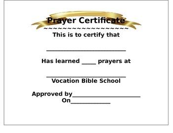 Vacation Bible School Prayer Award