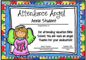 Vacation Bible School & Sunday School Attendance Awards (Editable/Customizable)