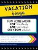 Vacation Bingo Homework