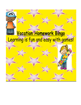 Vacation Bingo Homework Package