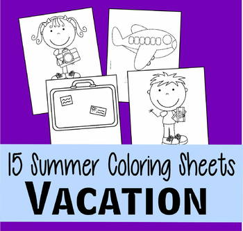 Vacation Coloring Sheets
