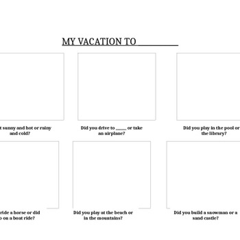 Vacation Cut & Paste Activity