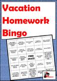 Vacation Homework Bingo