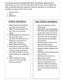 Vacation Homework for Fiction Nonfiction comprehension reading menu