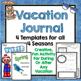 Vacation Journal Diary, 4 Templates, All Seasons, Writing Prompts, Scrapbook