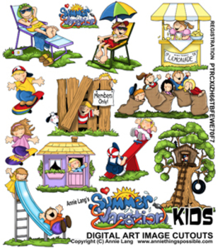 Vacation Kids Character Clipart
