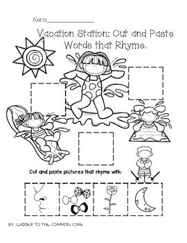 Vacation Station! Cut and Paste Words (Pictures) That Rhyme