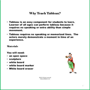DRAMA & TABLEAU—Parent/ Student Exercise, Vacation Themed