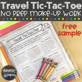 Travel Tic-Tac-Toe Sample: Cross-Curricular Absent Work for grades K-6