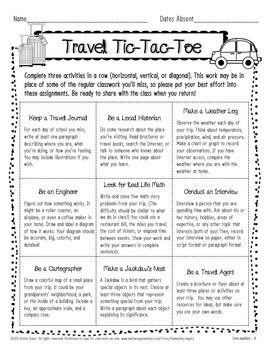 Travel Tic-Tac-Toe Sample: Cross-Curricular Absent Work