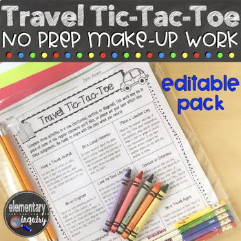 Travel Tic-Tac-Toe Editable Pack: No Prep Make Up Work