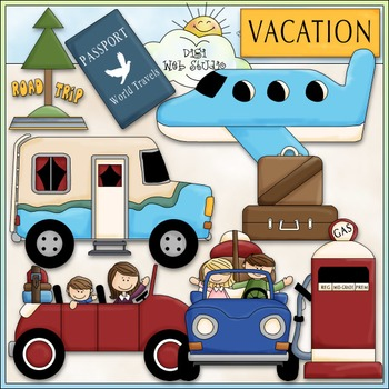Vacation Time Clip Art - Family Vacation Clip Art - CU Clip Art & B&W
