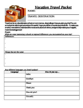 Vacation Travel Packet