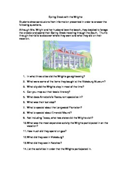 Inference and Sequencing Activity--Vacationing with the Wrights #2