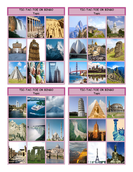 Vacations and Sightseeing Spots Tic-Tac-Toe or Bingo