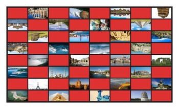 Vacations and Siteseeing Spots Checker Board Game