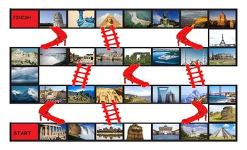 Vacation and Sightseeing Spots Legal Size Photo Chutes and Ladders Game
