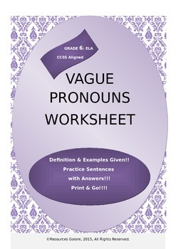 Vague Pronouns Worksheet