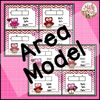 Valentine's Day Math: Multiplication Area Model 2 digit by 1 digit