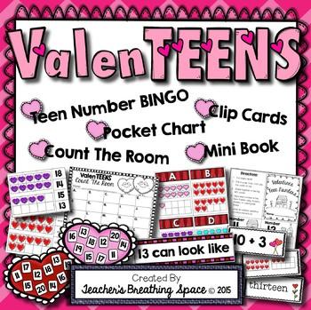 ValenTEENS --- Valentine's Teen Number Math Center Games -