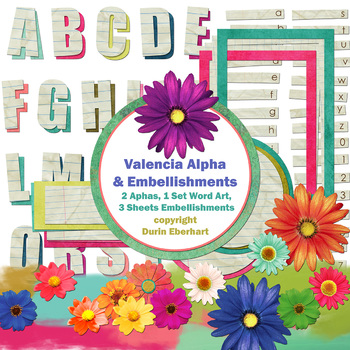 Valencia Printable Digital Alphabet, Word Art, and Embellishments